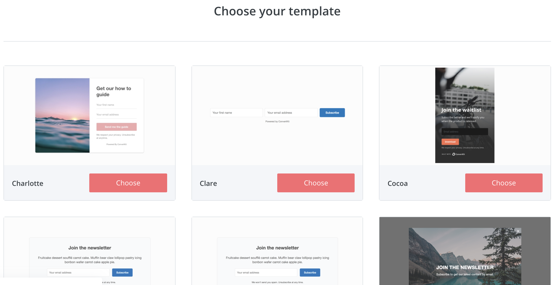 form templates in Convertkit