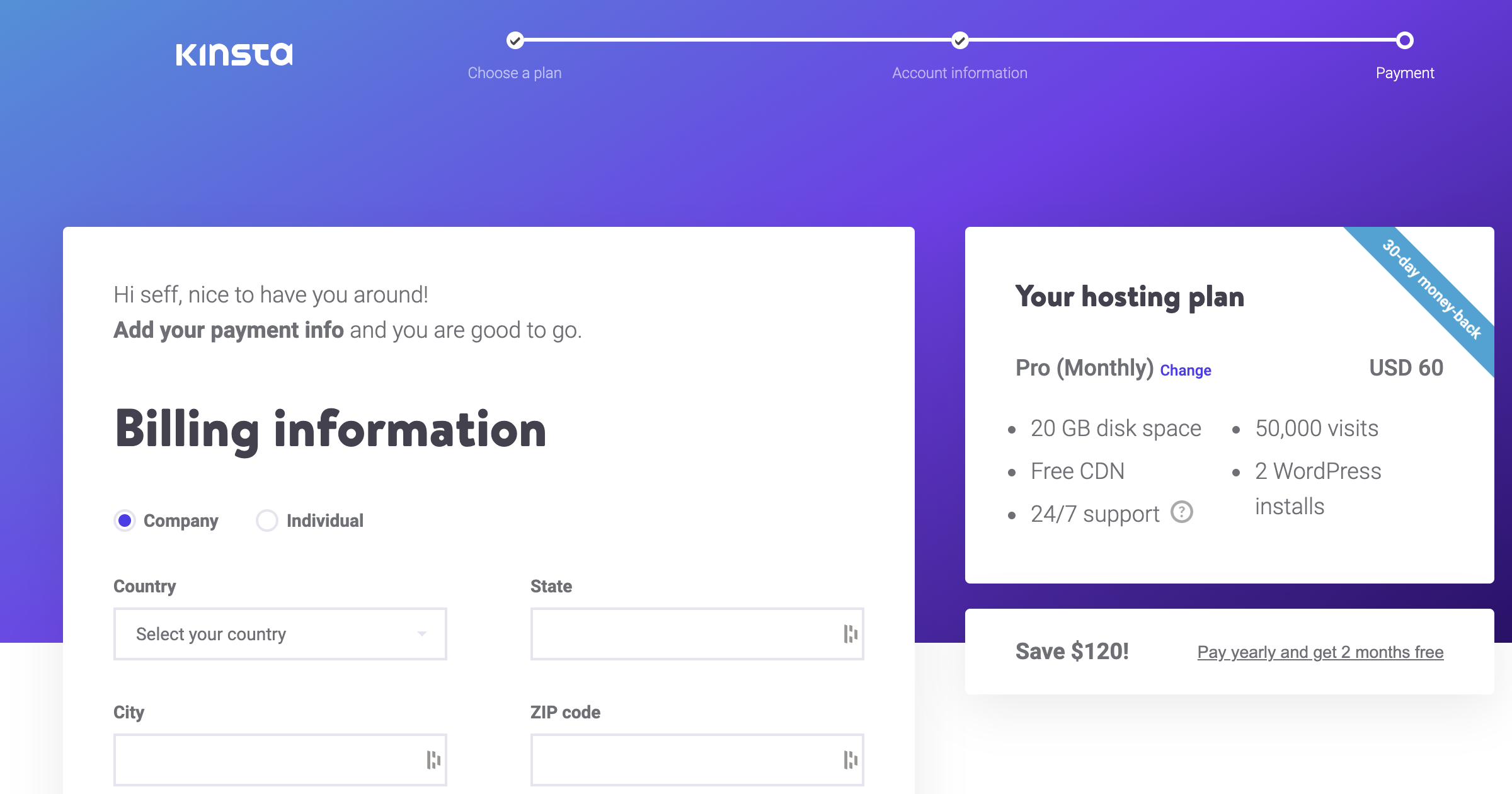 signing up with kinsta