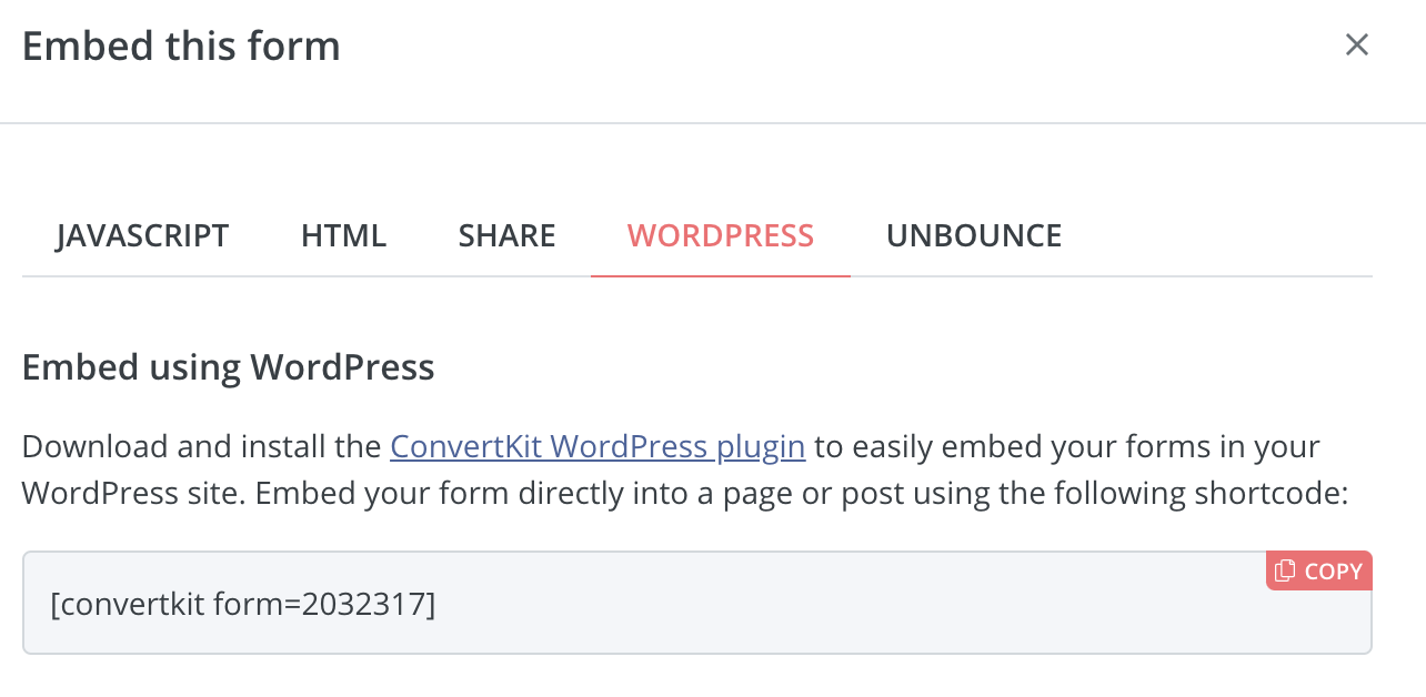 embed form in wordpress