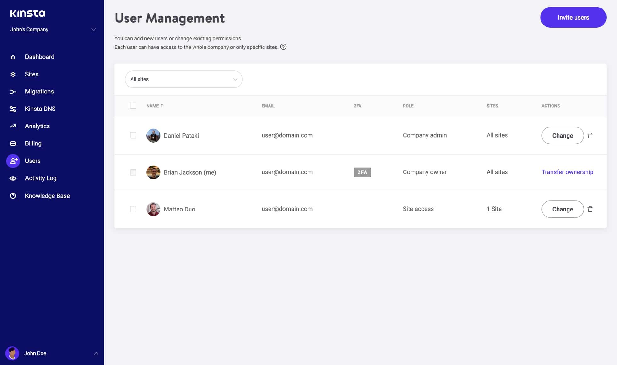 user management in kinsta