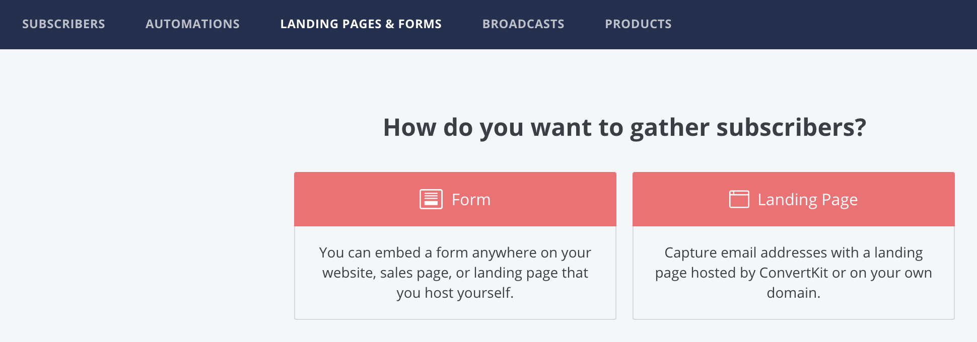 Forms and landing pages in Converkit
